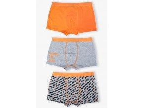 Chlapecké oranžovo-šedé boxerky - 3 kusy v balení