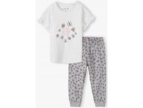 Dívčí pyžamo krátký rukáv a dlouhé nohavice Motýli
