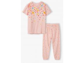 Dívčí pyžamo krátký rukáv a dlouhé nohavice Kytičky