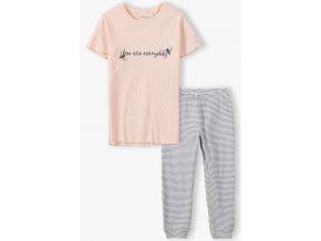Dívčí pyžamo krátký rukáv a dlouhé nohavice Včelky