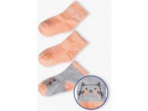 Dívčí ponožky s kočičkou - 3 páry v balení