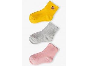 Dívčí jednobarevné ponožky - 3 páry v balení