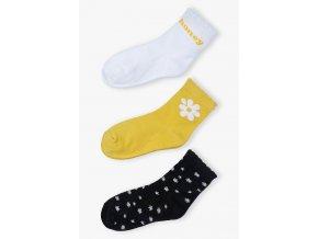 Dívčí ponožky s kytičkami - 3 páry v balení