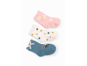 Kojenecké ponožky kytičky - 3 páry v balení
