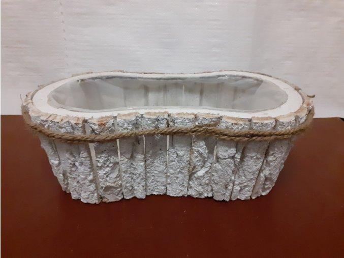 Truhlík dekorační bílý z kůry vykrojený s lankem 41cm