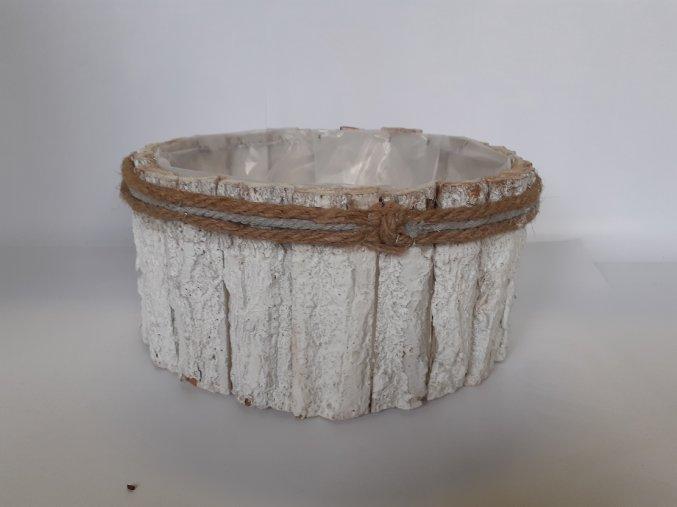 Truhlík z kůry 26cm - bílý