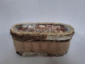 Truhlík dřevěný z kůrou a jutou 30cm