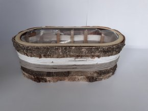 Truhlík dřevěný z kůrou oválný 32cm