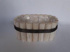 Dřevěný laťkový truhlík 28cm - oválný
