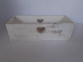 Dřevěná dekorační bedýnka 35,5cm - bílá