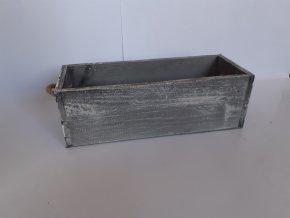 Dřevěná bedýnka šedá s lanky 35,5cm