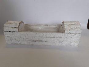 Dekorační truhlík kůrový bílý 50cm