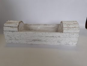 Dekorační truhlík kůrový bílý 60cm