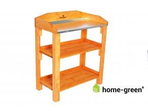 Dřevěný květinový přesazovací stůl, s plechem, Pinie