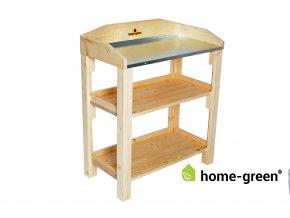 Dřevěný květinový přesazovací stůl, s plechem, Natur