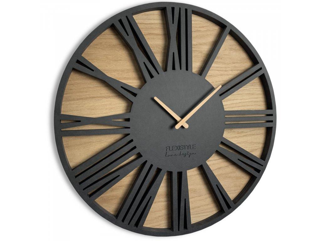 Nástěnné hodiny Roman Loft 50cm Černé
