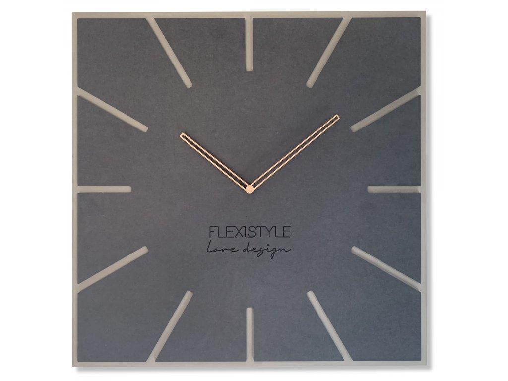 Velké nástěnné hodiny EKO EXACT 1 ČERNÉ antracit - 50cm