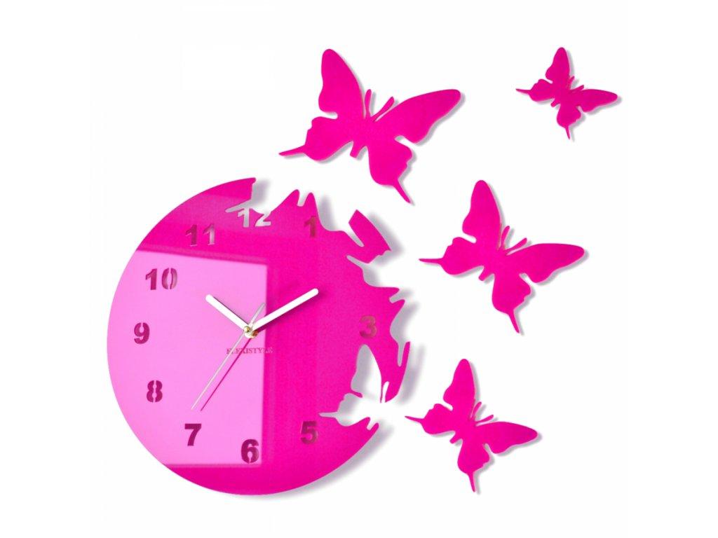 Nástěnné hodiny motýlci Růžové