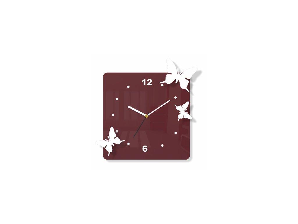 Hranaté hodiny s motýly hnědá/bílá