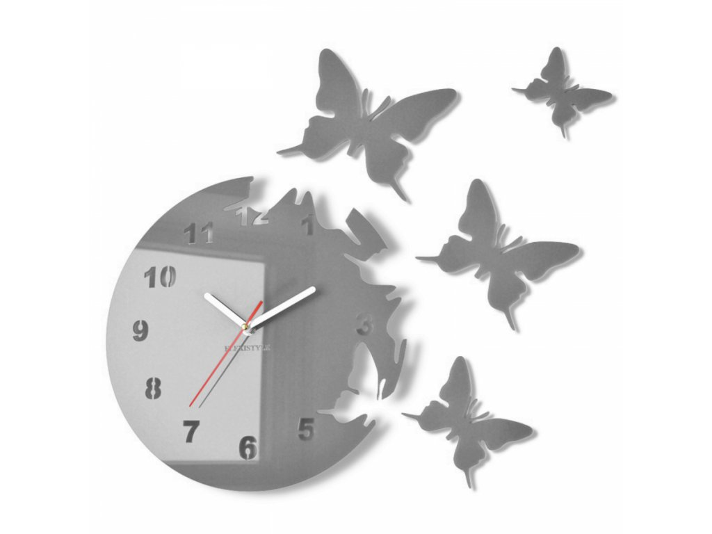 Nástěnné hodiny motýlci Šedé