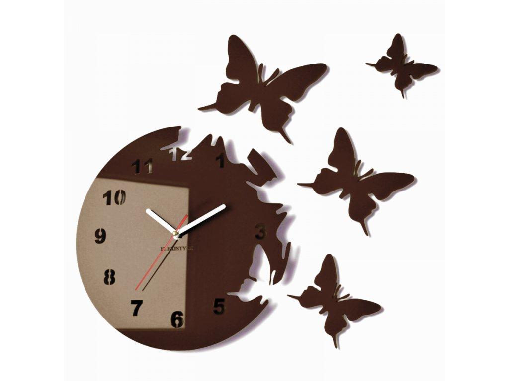 Nástěnné hodiny motýlci Wenge Hnědé
