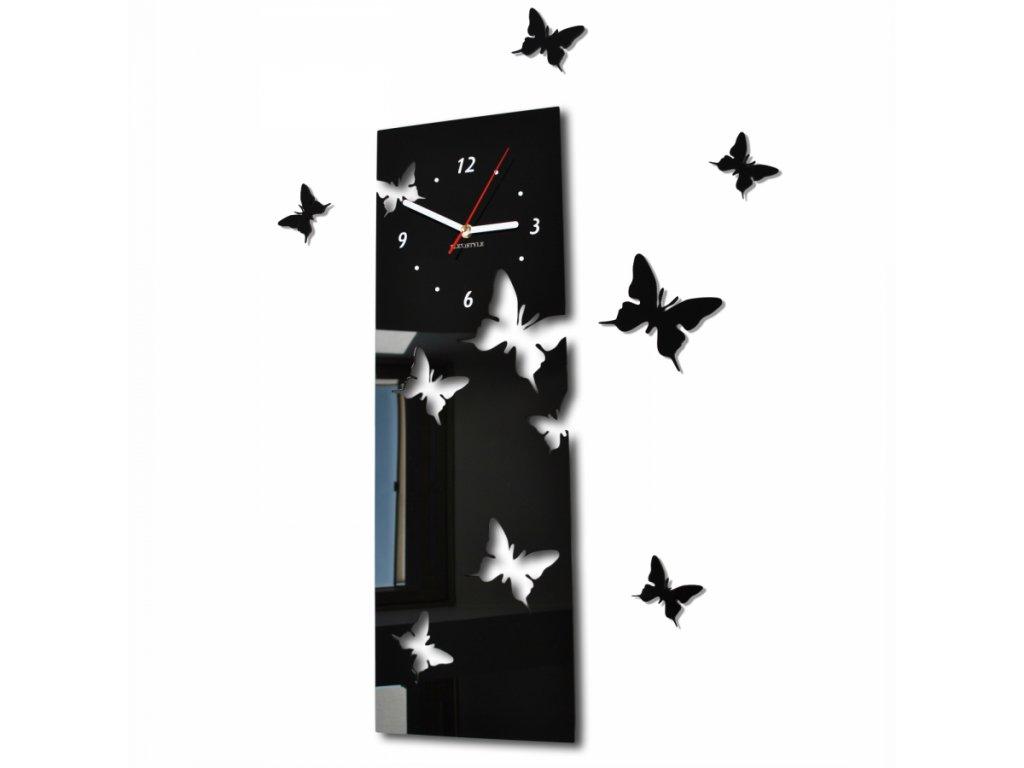 Nástěnné hodiny motýlci 20x60 cm Černé