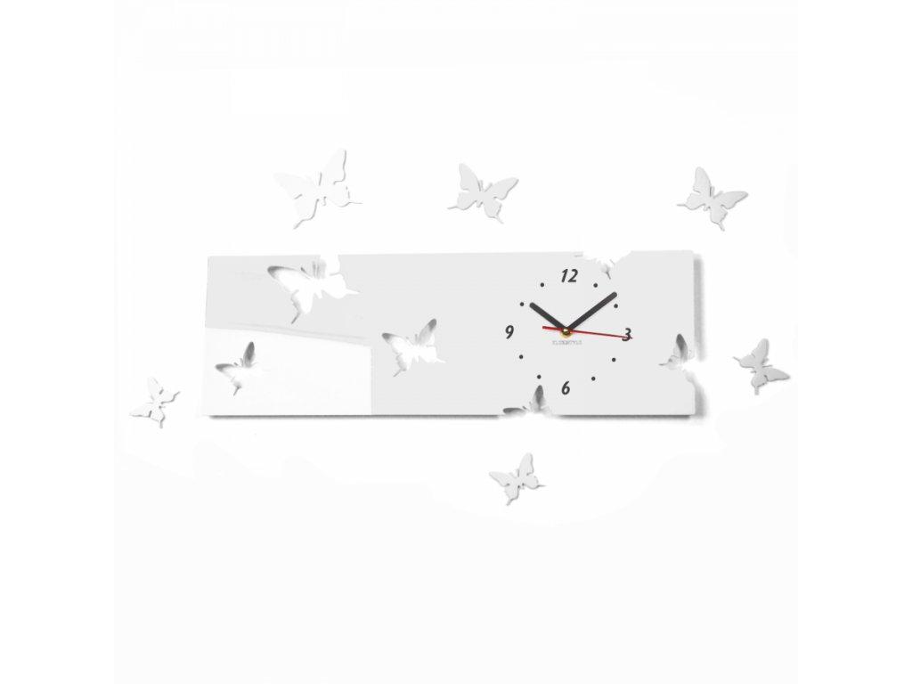 Designové hodiny obdélník Motýlci bílé