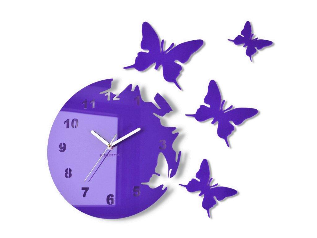 Nástěnné hodiny motýlci Fialové