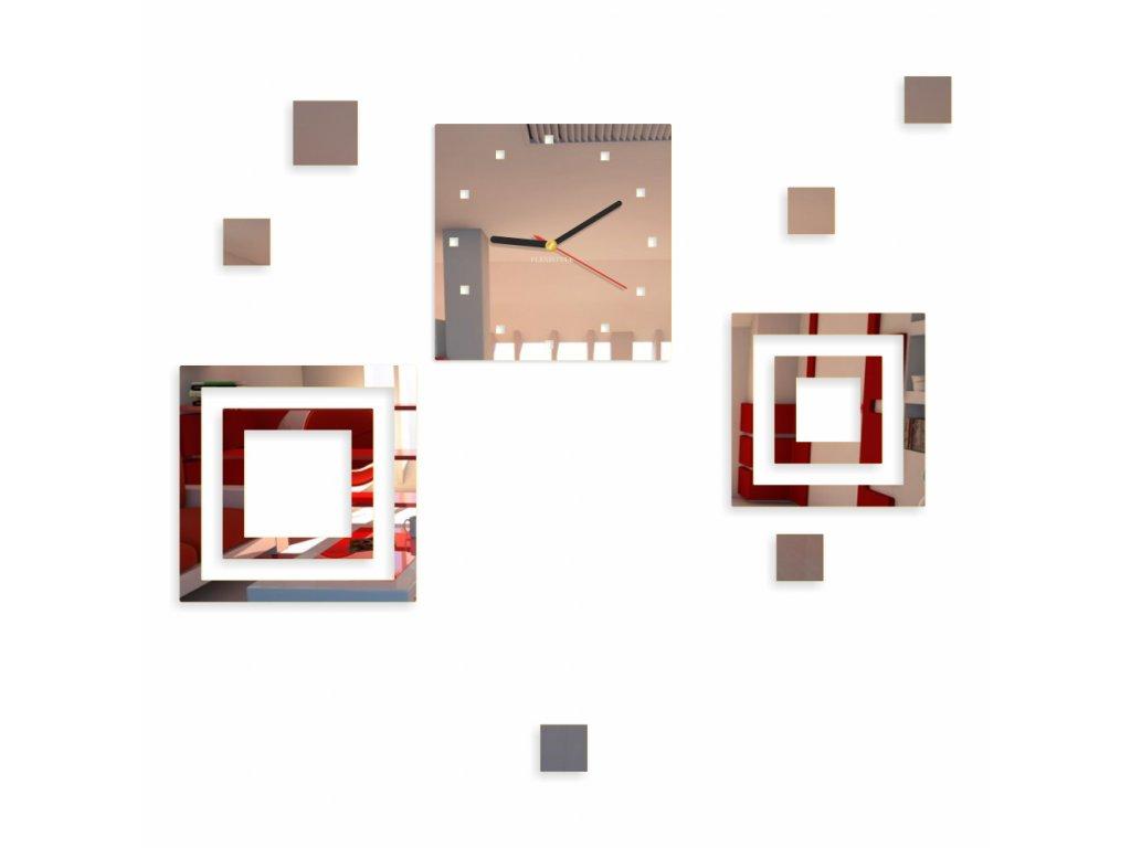 Designové nástěnné hodiny ČTVERCE zrcadlové Stříbrné