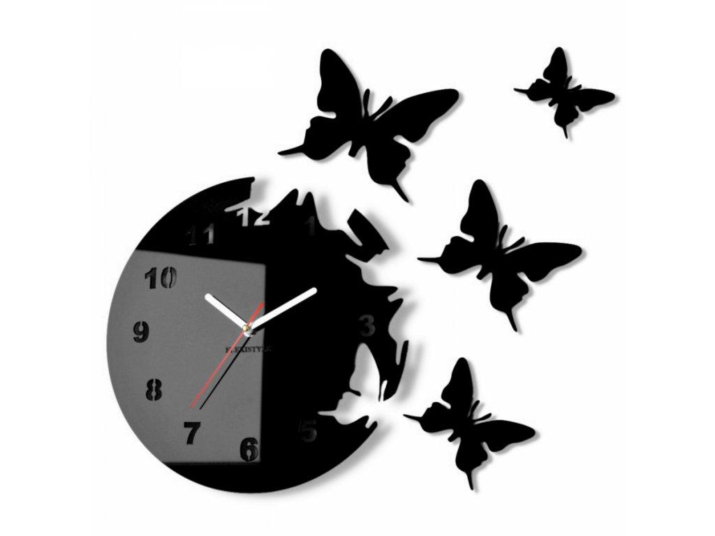 Nástěnné hodiny motýlci Černé