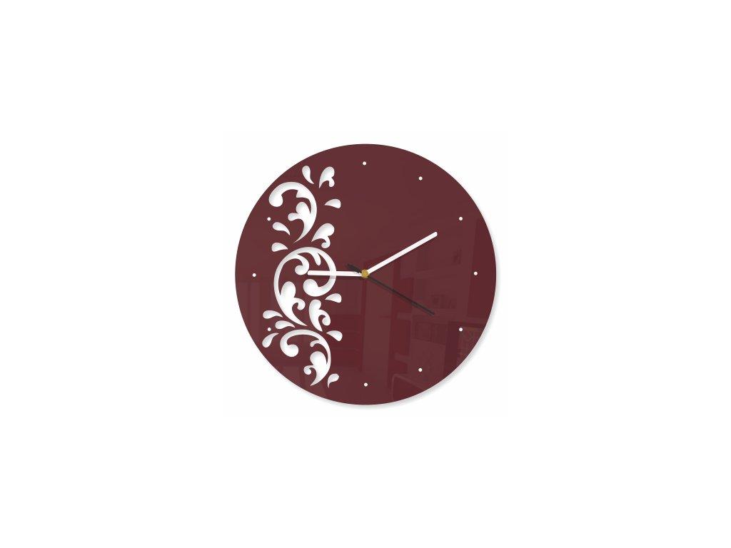 Designové hodiny FLORA Hnědé