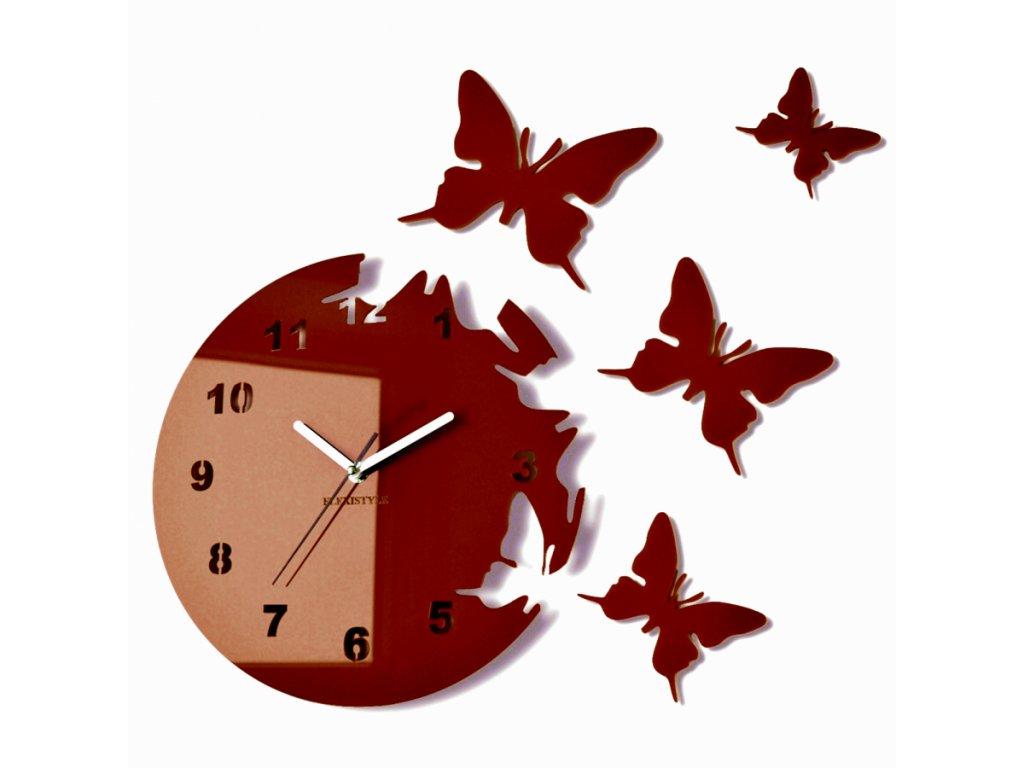 Nástěnné hodiny motýlci Hnědé