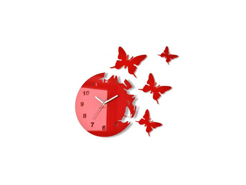 Nástěnné hodiny motýlci Červené