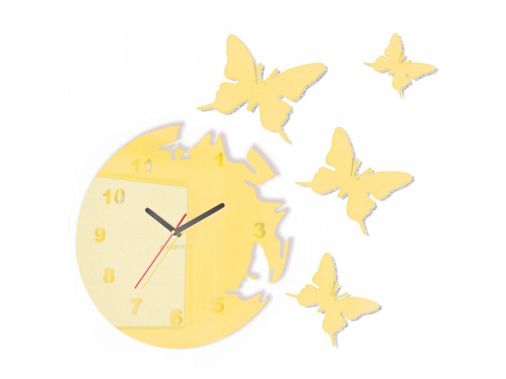 Nástěnné hodiny motýlci Ecru Krémová
