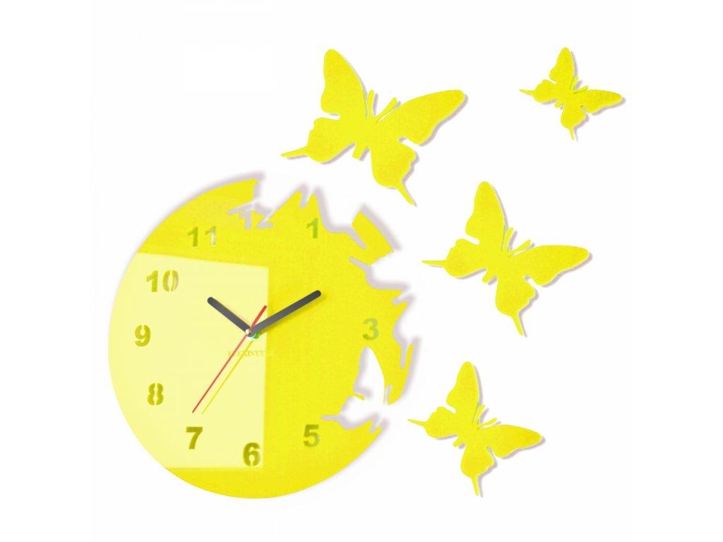 Nástěnné hodiny motýlci Žlutá citrónová
