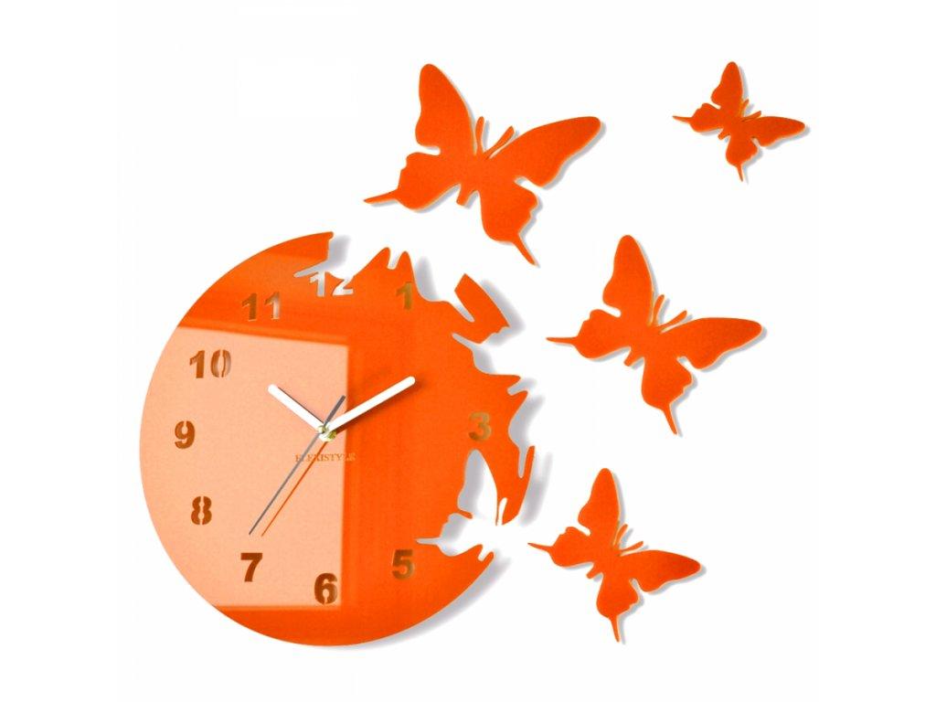 Nástěnné hodiny motýlci Oranžové