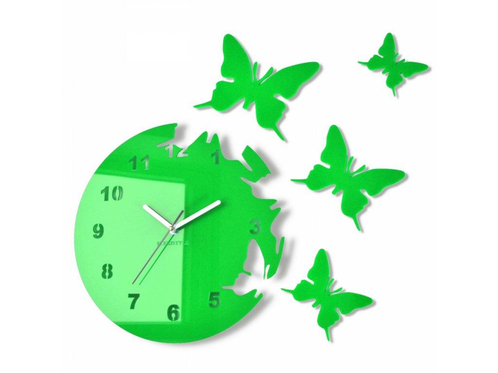 Nástěnné hodiny motýlci Světle zelené