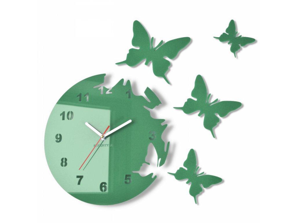 Nástěnné hodiny motýlci Temně zelené