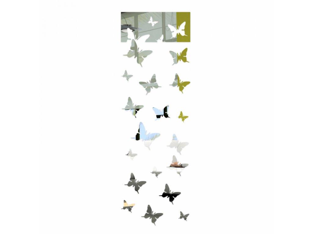 Nástěnná zrcadlová dekorace Motýlci