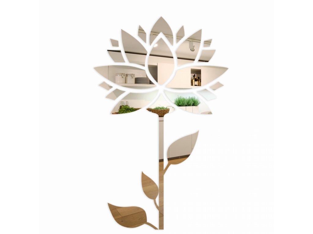 Samolepící zrcadlová dekorace Slunečnice 150cm Stříbrná