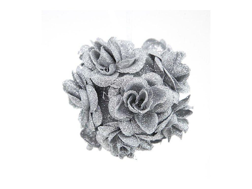 Vánoční dekorace -baňka růže stříbrná M