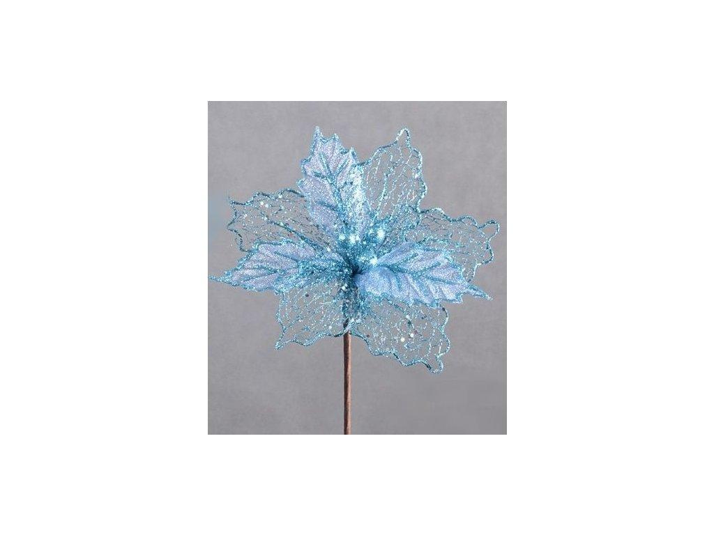 Vánoční květ tkaný, šifonové lístky - tyrkysová