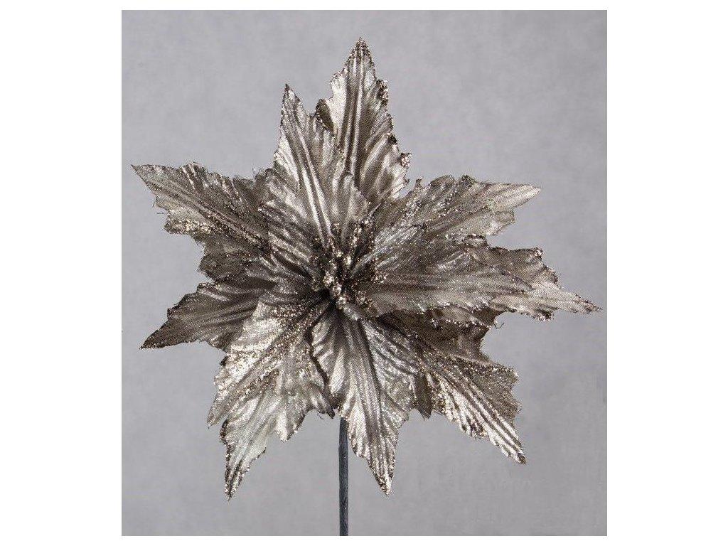 Třpytivý vánoční květ šedý 2