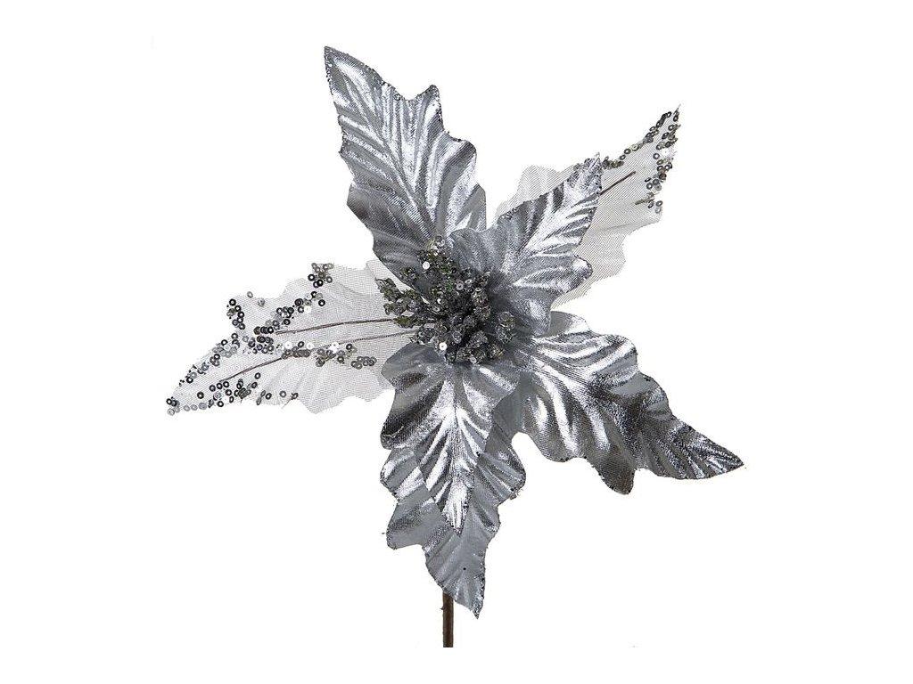 Vánoční květ LEILA šedostříbrná