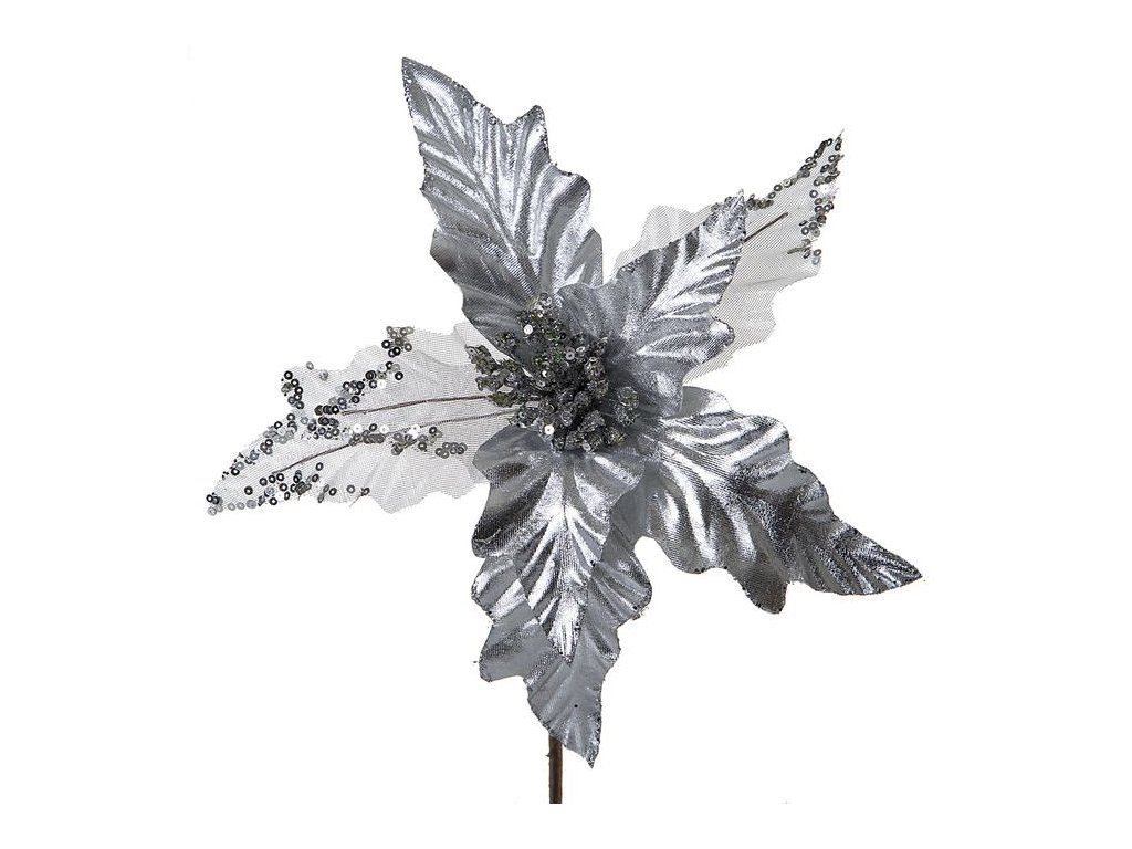 Vánoční květ LEILA Štříbrný
