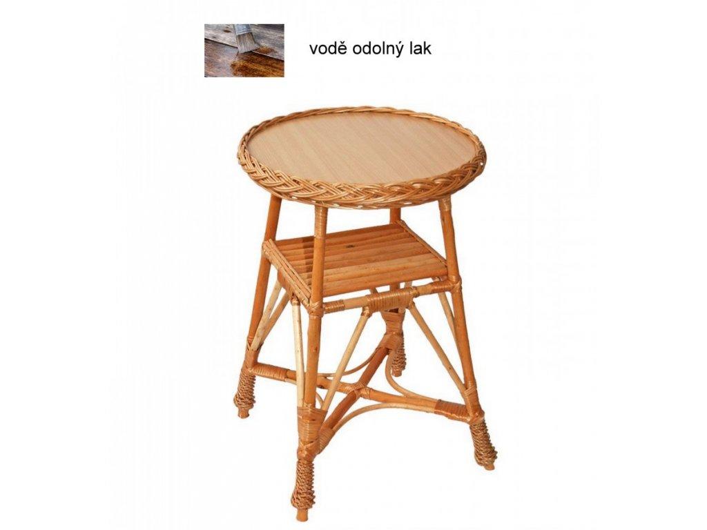 Proutěný stůl KULATÝ 40x40x60 cm Přírodní - lakovaný