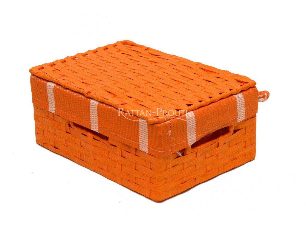 Úložný box s víkem ORANŽOVÝ  22x15x8 cm