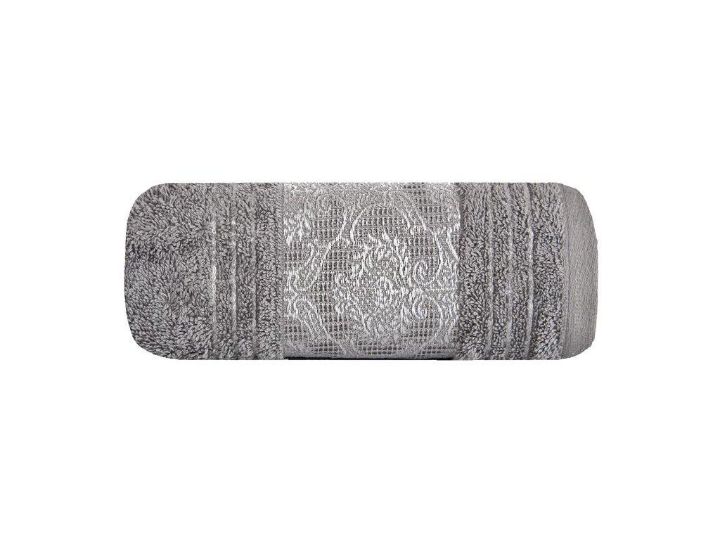 Osuška CAIRO 70x140 Šedá stříbrná výšivka