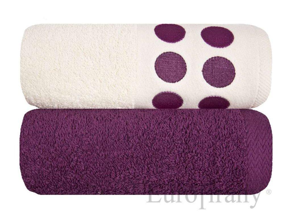 Sada ručníků 1x krémový, 1x fialový 70x140 cm