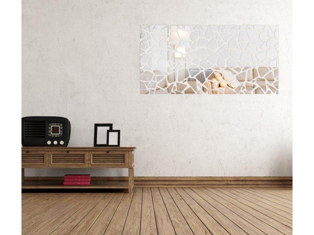 STONES samolepící zrcadlová dekorace vizuálně zvětší a prosvětlí prostor. Rozmanitý tvar zrcadla představuje neomezené možnosti dekorace zdi interiéru